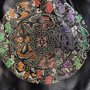 Small purse with complex mandala on shiny black.